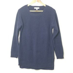 Chaus | Navy Blue Cable Knit Sweater Tunic Top M